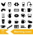 morning wake up theme black icons set eps10 vector image