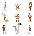 pirate sailors with classic filibusterer vector image vector image