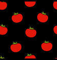red tomato seamless vegetable black pattern vector image