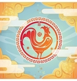 Retro greeting card with rooster vector image vector image