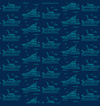 seamless pattern icons of marine boats yachts vector image vector image