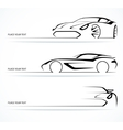 Set of abstract linear car silhouettes vector image vector image