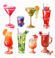 Set of watercolor cocktails vector image vector image