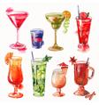 set watercolor cocktails vector image vector image