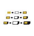 sim card adapters icon set esim to nano nano to vector image