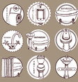 Sketch set of logo with bathrom and toilet symbols vector image vector image