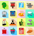 supermarket service icons set flat style vector image
