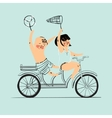Two best friends ride on tandem bicycle Flat vector image vector image
