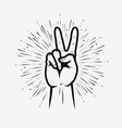 victory or peace sign in pop art retro comic style vector image vector image
