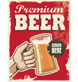 vintage style beer sign - poster banner design vector image vector image