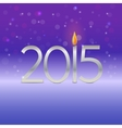 Happy new year 2015 card with candle flame vector image