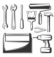vintage hand tools icons set vector image