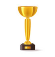 3d cup for sport champion or realistic trophy vector image