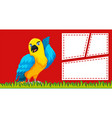 a parrot on blank note template vector image vector image