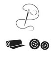 atelier and sewing black icons in set collection vector image vector image