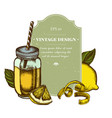 badge design with colored lemons basil smothie vector image vector image