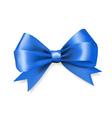 blue silky bow ribbon vector image vector image