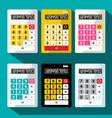 calculators set flat design calculator vector image vector image