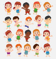 cartoon character boys and girls in a swimsuit vector image