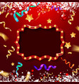 christmas red and gold frame vector image vector image