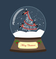 christmas snow globe with christmas tree and birds vector image