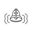 church bell icon with audio wave curvy lines vector image