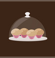 cupcake tasty muffin cake in plate sweet bakery vector image vector image