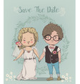 cute little wedding couple vector image vector image