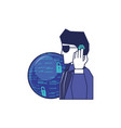 cyber security agent with planet vector image vector image