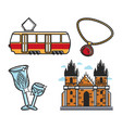 czech republic symbols transport and architecture vector image