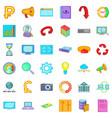 different analytics icons set cartoon style vector image