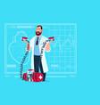 doctor hold defibrillator medical clinics worker vector image