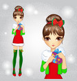 Fashion Girl In Green Santa Socks Holding Gift vector image