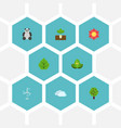 flat icons wood eco energy sky and other vector image vector image