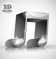 Funky metallic double musical note 3d modern style vector image