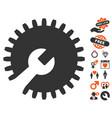 gear tools icon with valentine bonus vector image vector image