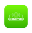 global network icon green vector image vector image