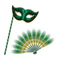 green carnival venetian mask masquerade feather vector image