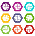 handball icons set 9 vector image