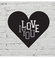 heart sign on white brick vector image vector image