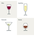 icon set of glass goblets Flat thin line vector image