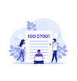 iso 27001 certification and people art vector image vector image