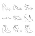 isolated object of footwear and woman icon set of vector image vector image