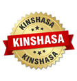 kinshasa round golden badge with red ribbon vector image vector image