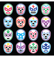 Lucha Libre Mexican wrestling masks icons on black vector image vector image