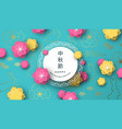 mid autumn card paper frame and colorful flower vector image vector image