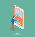 mobile image editor flat isometric concept vector image vector image