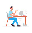 operator in headset talking to client call center vector image