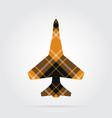 orange black tartan isolated icon - fighter vector image vector image