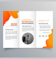 orange watercolor trifold business leaflet vector image vector image